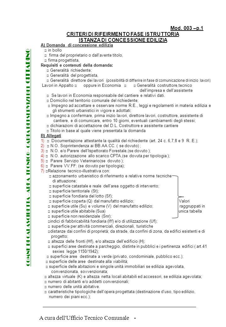 A cura dell'Ufficio Tecnico Comunale - COMNE DI CALASCIBETTA - AREA TECNICO - CARTA DEI SERVIZI DEL CITTADINO Mod. 002 CHEC LIST ISTANZA DI CONCESSION