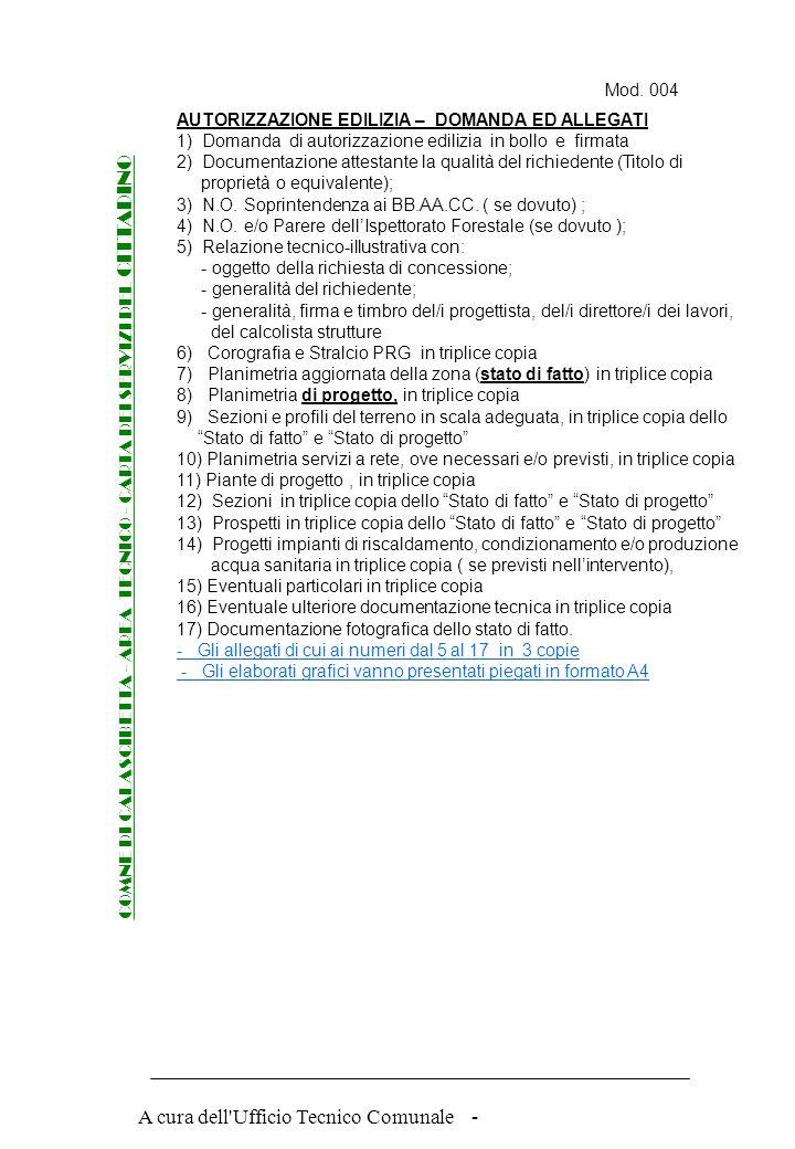 A cura dell'Ufficio Tecnico Comunale - AUTORIZZAZIONE EDILIZIA documenti ed elaborati da presentare per il rilascio COMNE DI CALASCIBETTA - AREA TECNI