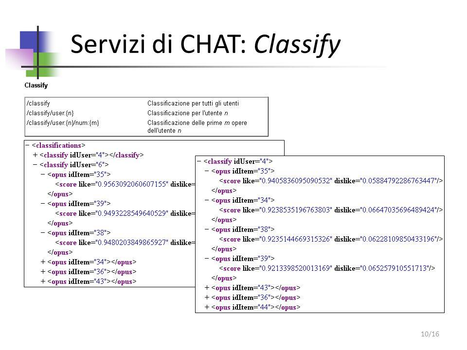 Servizi di CHAT: Classify 10/16