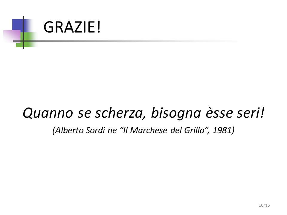 GRAZIE! Quanno se scherza, bisogna èsse seri! (Alberto Sordi ne Il Marchese del Grillo, 1981) 16/16