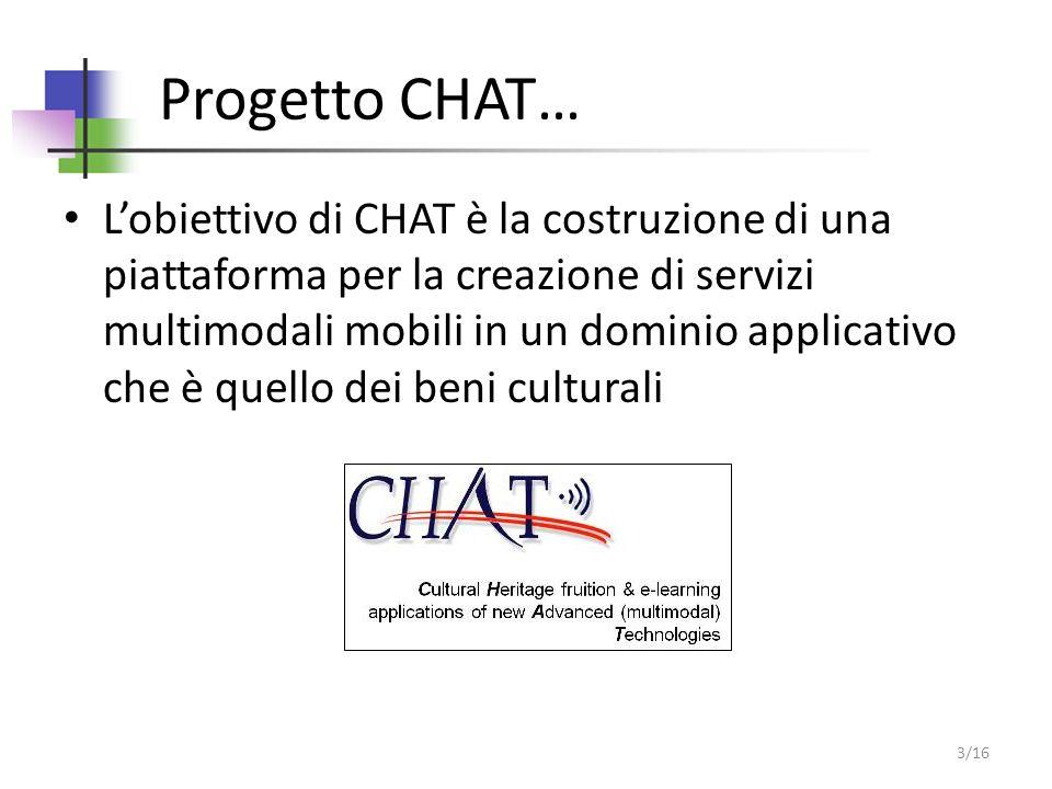 Progetto CHAT… Lobiettivo di CHAT è la costruzione di una piattaforma per la creazione di servizi multimodali mobili in un dominio applicativo che è quello dei beni culturali 3/16