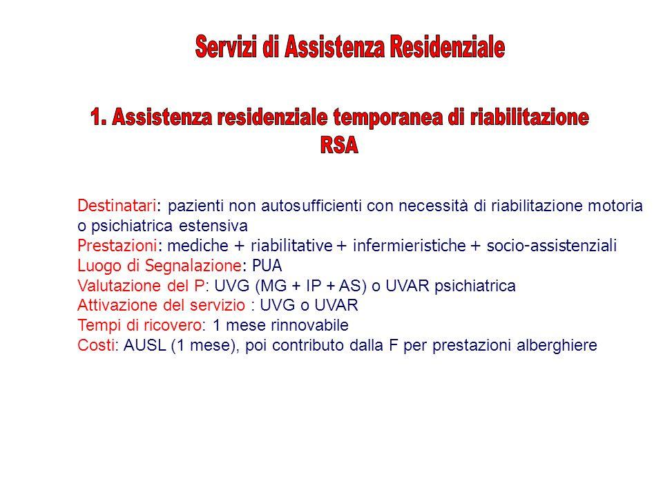 Destinatari: pazienti non autosufficienti con necessità di riabilitazione motoria o psichiatrica estensiva Prestazioni: mediche + riabilitative + infe