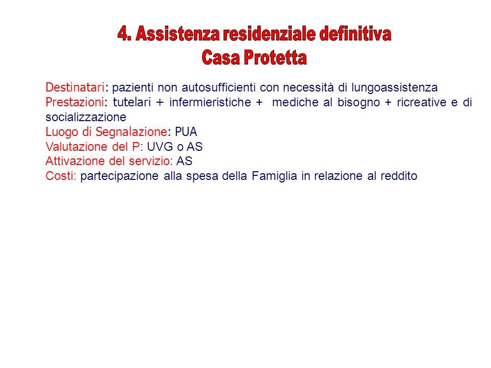 Destinatari: pazienti non autosufficienti con necessità di lungoassistenza Prestazioni: tutelari + infermieristiche + mediche al bisogno + ricreative