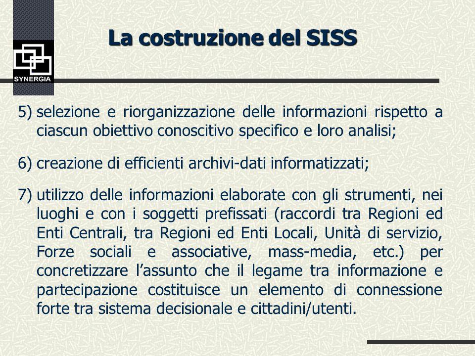 La costruzione del SISS selezione degli obiettivi informativi che il Sistema informativo deve raggiungere (in relazione agli obiettivi del Sistema del
