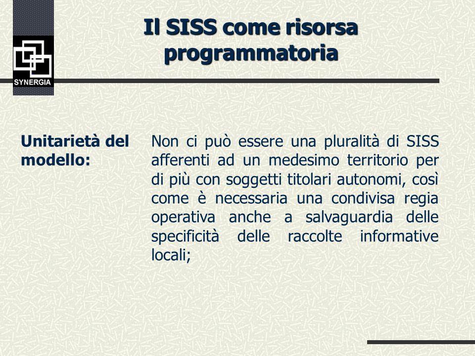 La costruzione del SISS selezione e riorganizzazione delle informazioni rispetto a ciascun obiettivo conoscitivo specifico e loro analisi; creazione d