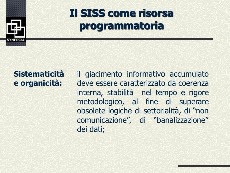 Il SISS come risorsa programmatoria Tempestività:la programmazione delle politiche sociali richiede un quadro esauriente di conoscenze continuamente a
