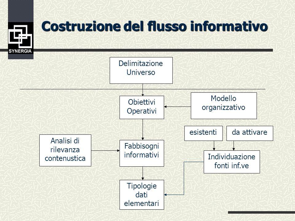 Costruzione del flusso informativo esistenti da attivare Dati Istituz.li Rilev. Amm.ve Rendicon. gestionali Indagini ad hoc Surveys Fabbisogni informa