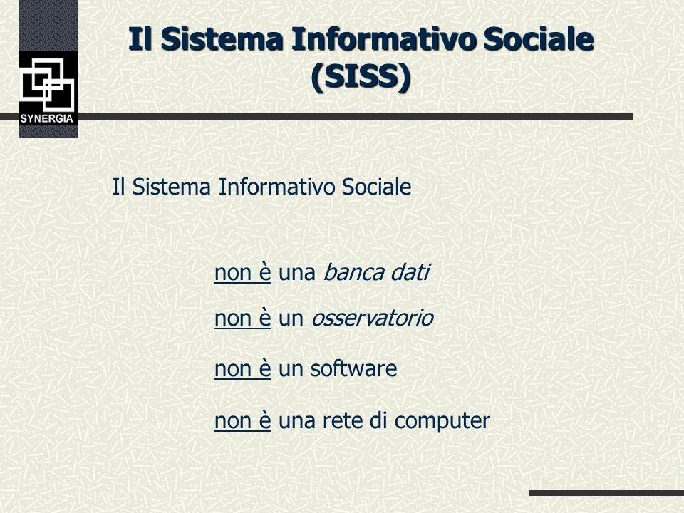 Il Sistema Informativo Sociale (SISS) Il Sistema Informativo Sociale (SISS) è quel particolare Sistema Informativo volto a gestire informazioni relative allattività dei servizi di welfare, al monitoraggio dei bisogni, alla qualità dei servizi alle persone.