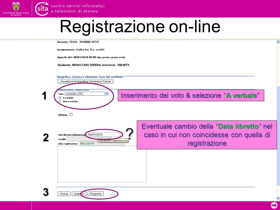 Registrazione on-line .