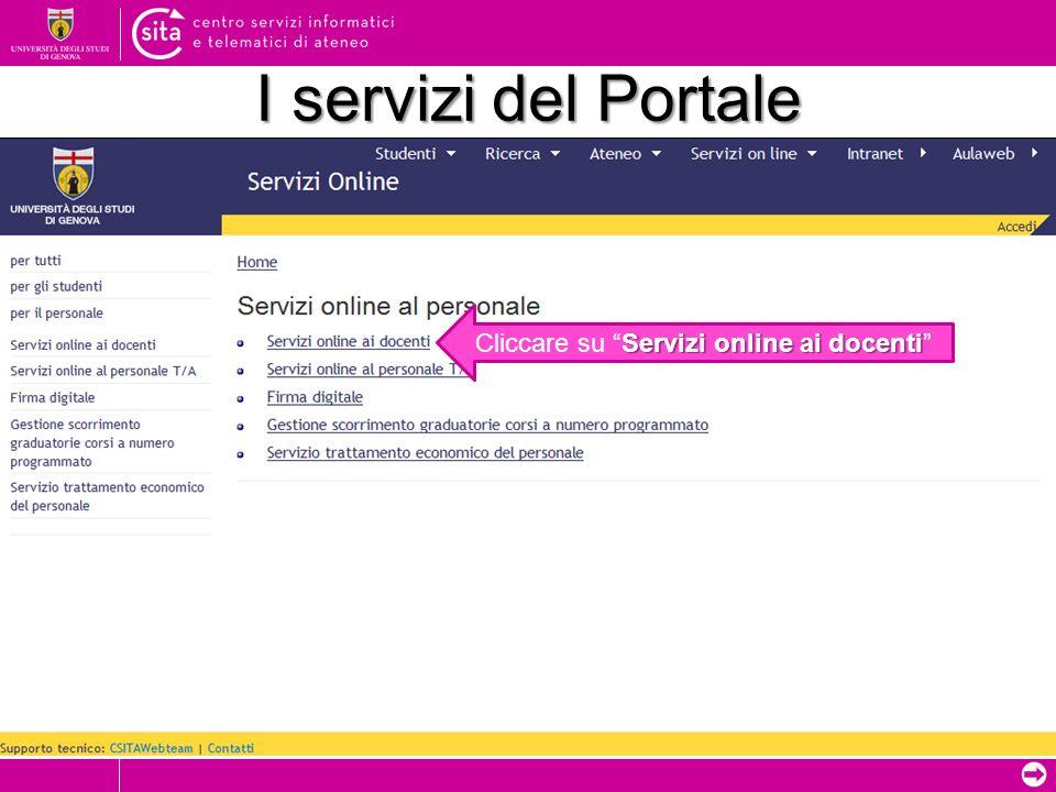 I servizi del Portale Servizi online ai docenti Cliccare su Servizi online ai docenti