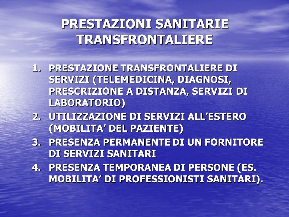 PRESTAZIONI SANITARIE TRANSFRONTALIERE 1.PRESTAZIONE TRANSFRONTALIERE DI SERVIZI (TELEMEDICINA, DIAGNOSI, PRESCRIZIONE A DISTANZA, SERVIZI DI LABORATO