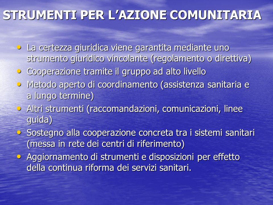 STRUMENTI PER LAZIONE COMUNITARIA La certezza giuridica viene garantita mediante uno strumento giuridico vincolante (regolamento o direttiva) La certe