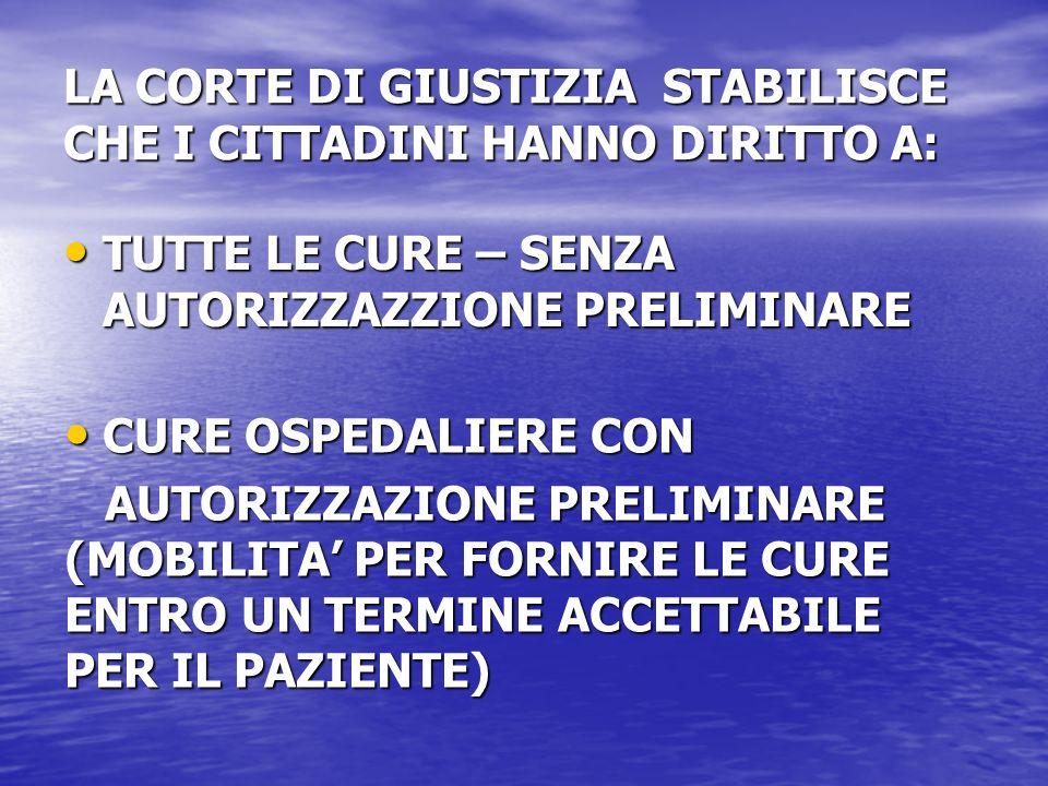 PRESTAZIONI SANITARIE TRANSFRONTALIERE 1.PRESTAZIONE TRANSFRONTALIERE DI SERVIZI (TELEMEDICINA, DIAGNOSI, PRESCRIZIONE A DISTANZA, SERVIZI DI LABORATORIO) 2.UTILIZZAZIONE DI SERVIZI ALLESTERO (MOBILITA DEL PAZIENTE) 3.PRESENZA PERMANENTE DI UN FORNITORE DI SERVIZI SANITARI 4.PRESENZA TEMPORANEA DI PERSONE (ES.