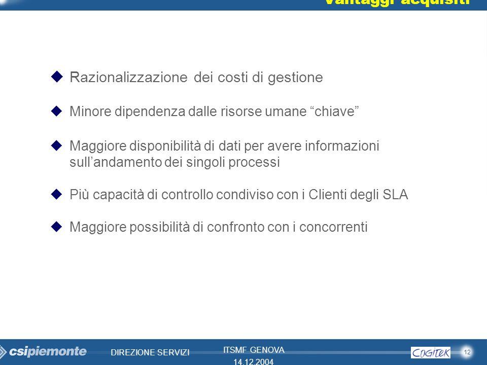 12 DIREZIONE SERVIZI ITSMF GENOVA 14.12.2004 Vantaggi acquisiti uRazionalizzazione dei costi di gestione uMinore dipendenza dalle risorse umane chiave