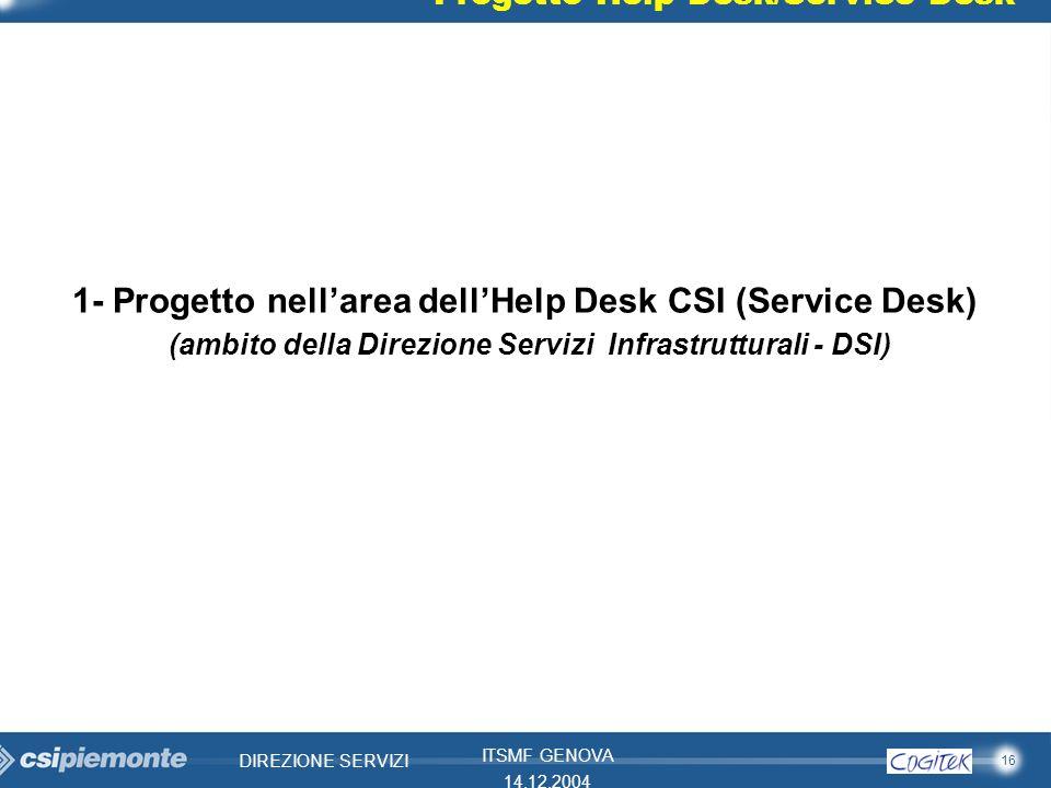 16 DIREZIONE SERVIZI ITSMF GENOVA 14.12.2004 Progetto Help Desk/Service Desk 1- Progetto nellarea dellHelp Desk CSI (Service Desk) (ambito della Direz