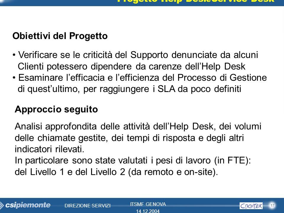 17 DIREZIONE SERVIZI ITSMF GENOVA 14.12.2004 Progetto Help Desk/Service Desk Obiettivi del Progetto Verificare se le criticità del Supporto denunciate