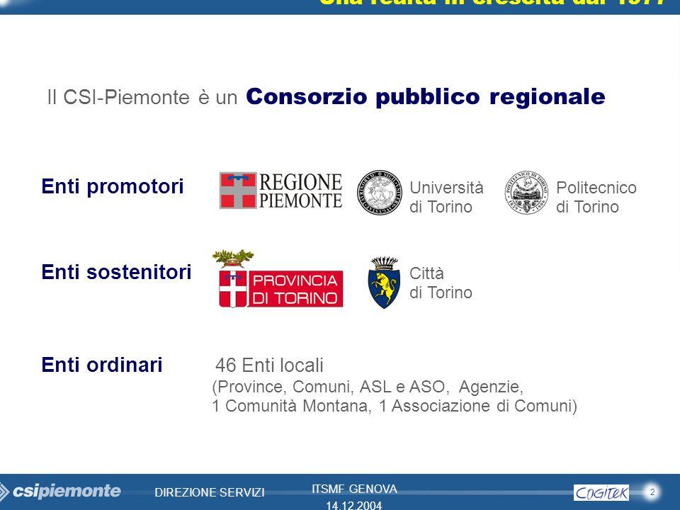 2 DIREZIONE SERVIZI ITSMF GENOVA 14.12.2004 Una realtà in crescita dal 1977 Enti promotori Università Politecnico di Torino di Torino Enti sostenitori
