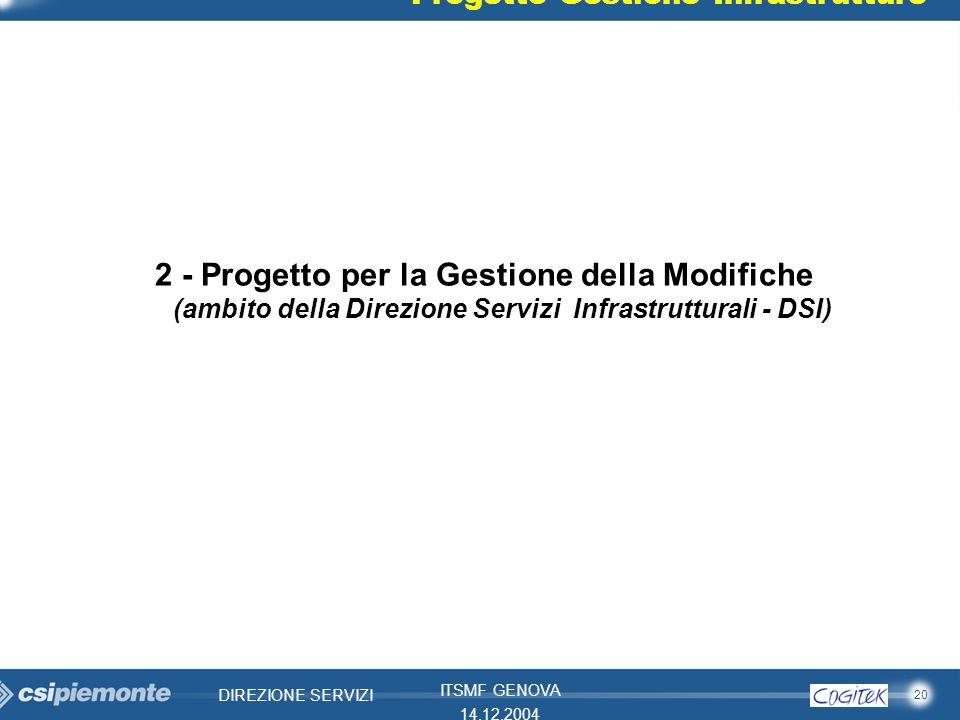 20 DIREZIONE SERVIZI ITSMF GENOVA 14.12.2004 2 - Progetto per la Gestione della Modifiche (ambito della Direzione Servizi Infrastrutturali - DSI) Prog