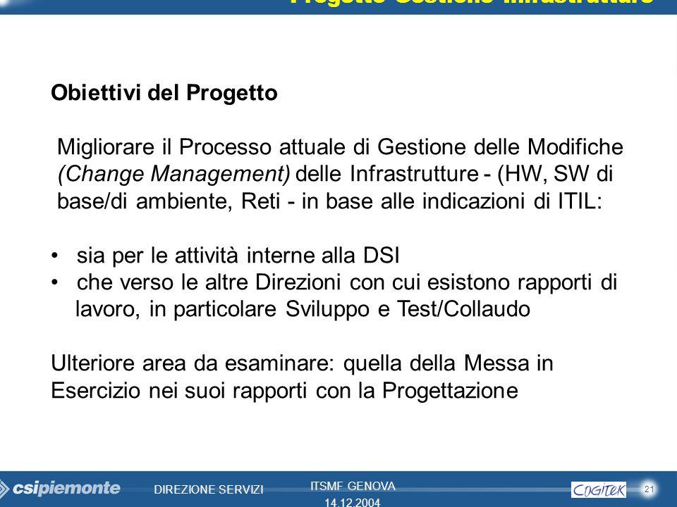 21 DIREZIONE SERVIZI ITSMF GENOVA 14.12.2004 Obiettivi del Progetto Migliorare il Processo attuale di Gestione delle Modifiche (Change Management) del