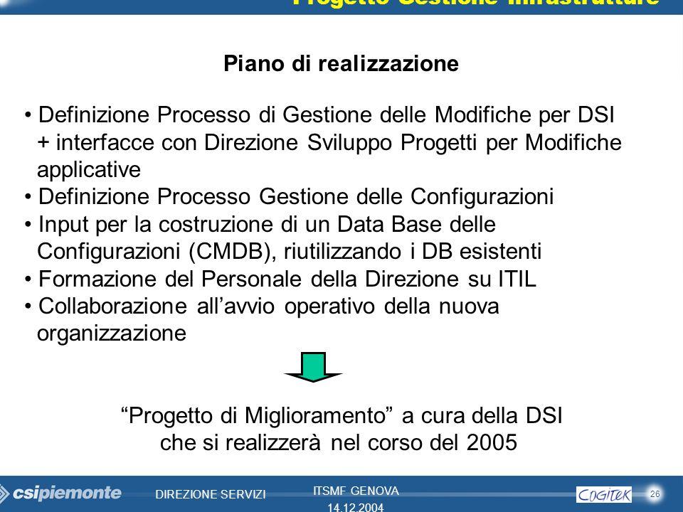 26 DIREZIONE SERVIZI ITSMF GENOVA 14.12.2004 Progetto Gestione Infrastrutture Definizione Processo di Gestione delle Modifiche per DSI + interfacce co