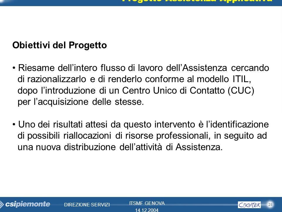 28 DIREZIONE SERVIZI ITSMF GENOVA 14.12.2004 Progetto Assistenza Applicativa Obiettivi del Progetto Riesame dellintero flusso di lavoro dellAssistenza