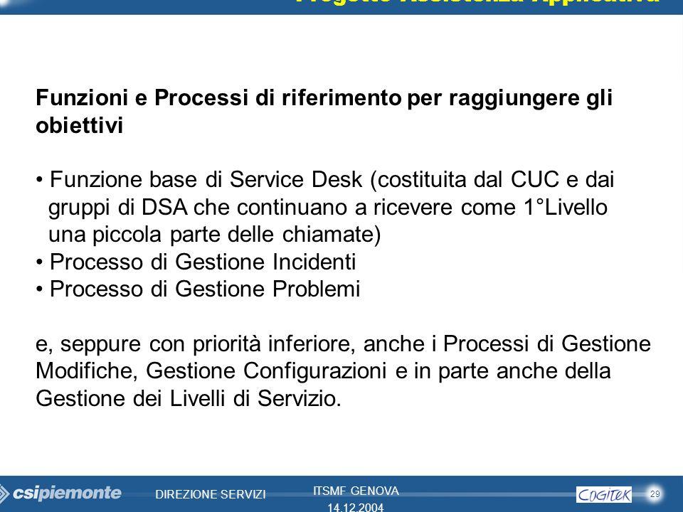 29 DIREZIONE SERVIZI ITSMF GENOVA 14.12.2004 Progetto Assistenza Applicativa Funzioni e Processi di riferimento per raggiungere gli obiettivi Funzione