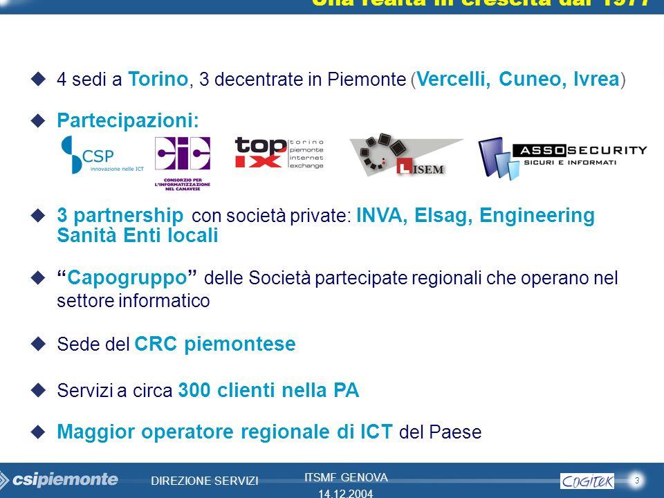 3 DIREZIONE SERVIZI ITSMF GENOVA 14.12.2004 Una realtà in crescita dal 1977 u4 sedi a Torino, 3 decentrate in Piemonte ( Vercelli, Cuneo, Ivrea ) u Pa