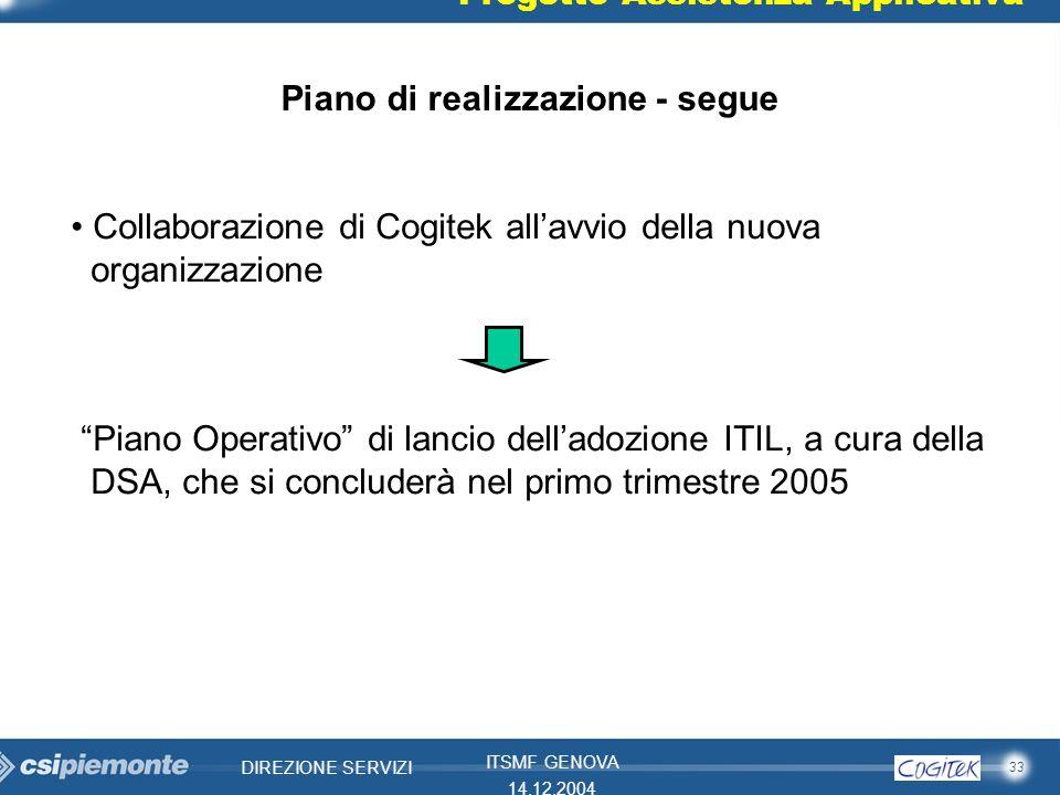 33 DIREZIONE SERVIZI ITSMF GENOVA 14.12.2004 Progetto Assistenza Applicativa Piano di realizzazione - segue Collaborazione di Cogitek allavvio della n