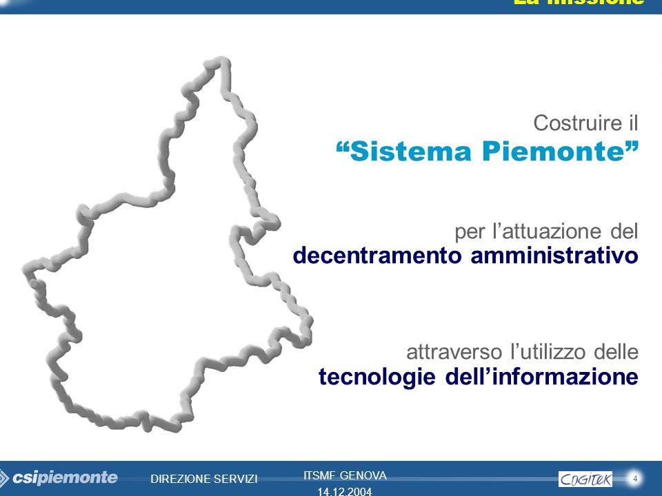 4 DIREZIONE SERVIZI ITSMF GENOVA 14.12.2004 La missione Costruire il Sistema Piemonte per lattuazione del decentramento amministrativo attraverso luti