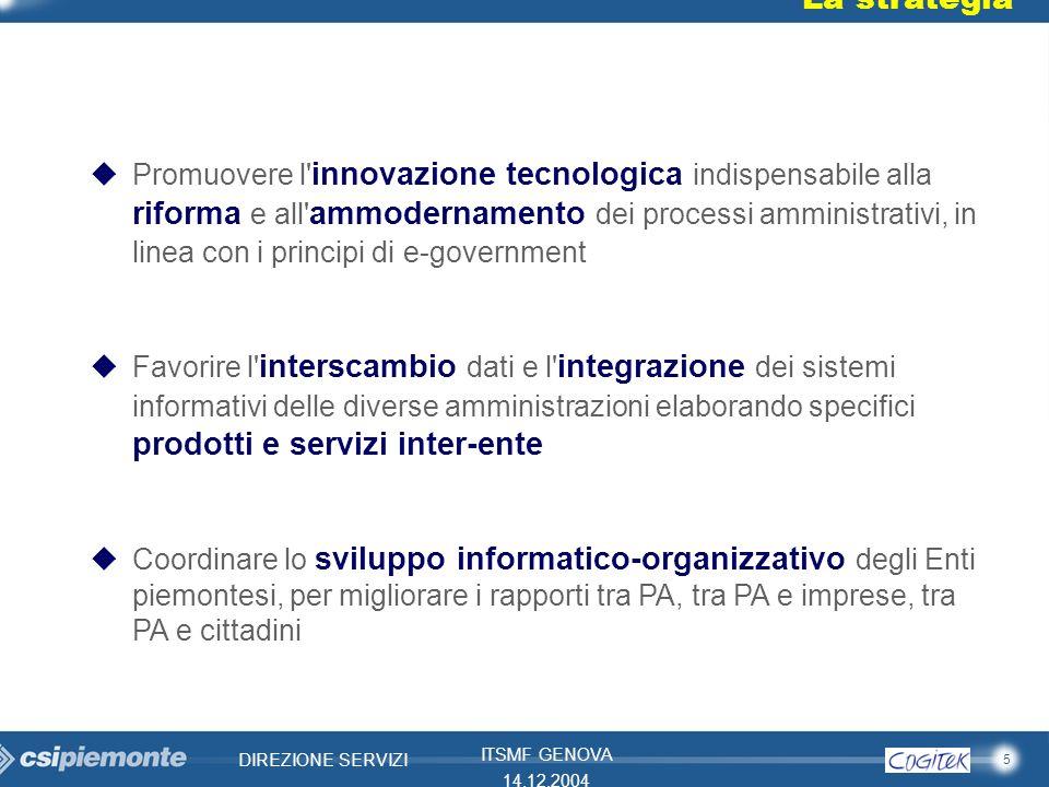 5 DIREZIONE SERVIZI ITSMF GENOVA 14.12.2004 La strategia Promuovere l' innovazione tecnologica indispensabile alla riforma e all' ammodernamento dei p