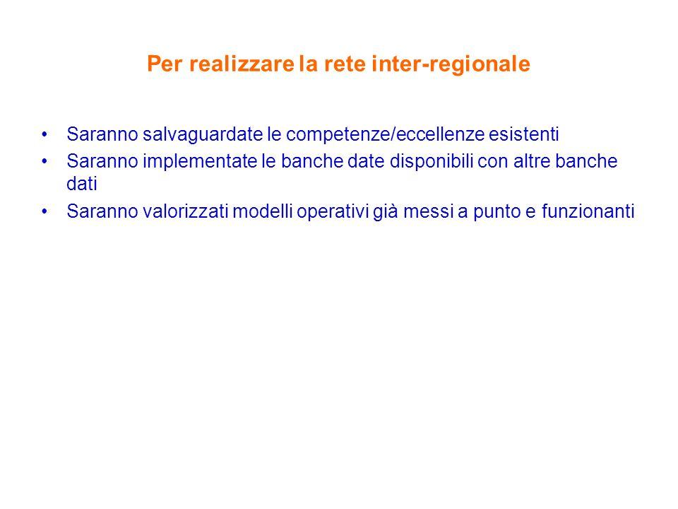 Per realizzare la rete inter-regionale Saranno salvaguardate le competenze/eccellenze esistenti Saranno implementate le banche date disponibili con altre banche dati Saranno valorizzati modelli operativi già messi a punto e funzionanti