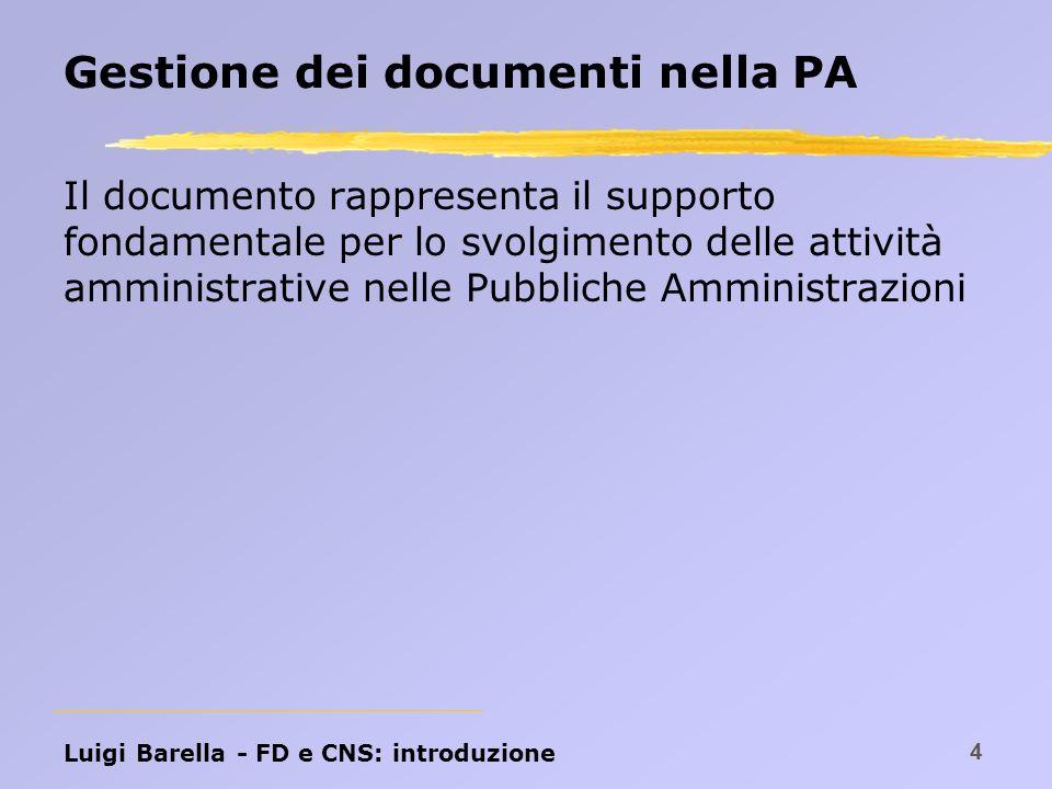 Luigi Barella - FD e CNS: introduzione 5 Firma di un documento Firma: meccanismo che garantisce al supporto fisico: l autenticità l integrità l non ripudio La natura della firma è strettamente legata al supporto fisico.