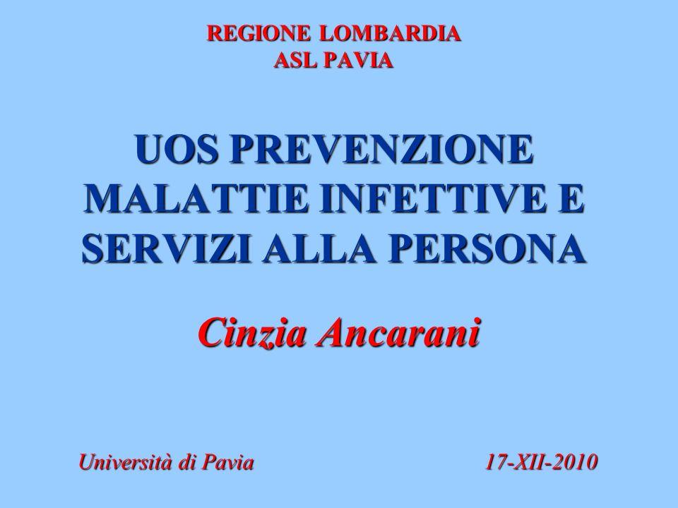 REGIONE LOMBARDIA ASL PAVIA UOS PREVENZIONE MALATTIE INFETTIVE E SERVIZI ALLA PERSONA Cinzia Ancarani Università di Pavia17-XII-2010