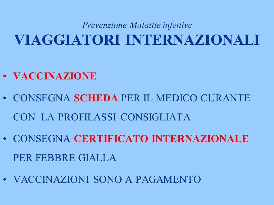 VACCINAZIONE CONSEGNA SCHEDA PER IL MEDICO CURANTE CON LA PROFILASSI CONSIGLIATA CONSEGNA CERTIFICATO INTERNAZIONALE PER FEBBRE GIALLA VACCINAZIONI SONO A PAGAMENTO Prevenzione Malattie infettive VIAGGIATORI INTERNAZIONALI