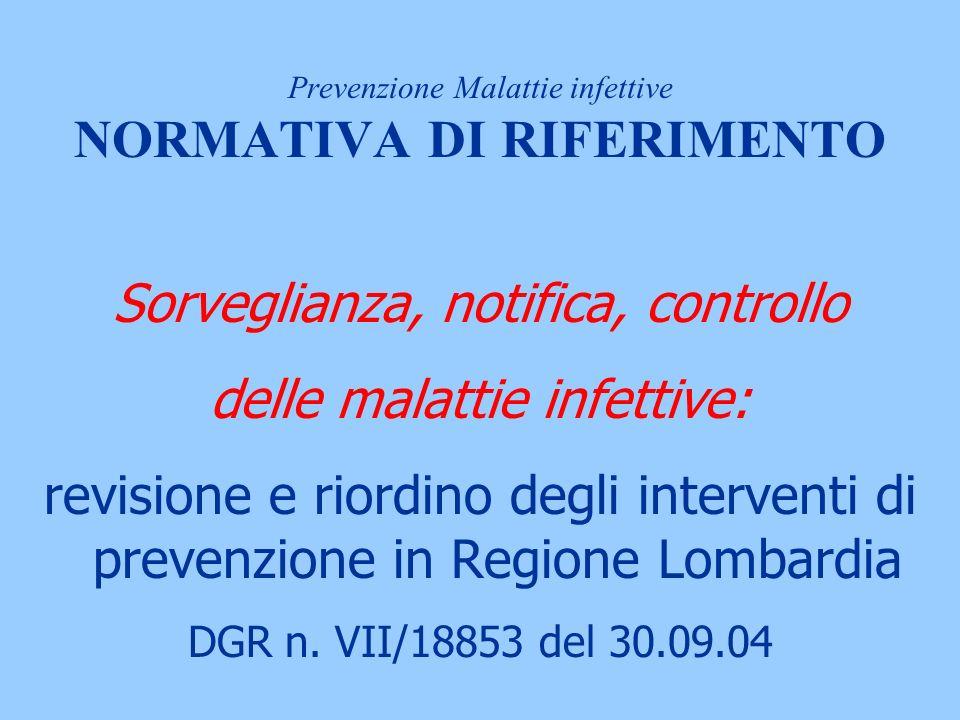 Sorveglianza, notifica, controllo delle malattie infettive: revisione e riordino degli interventi di prevenzione in Regione Lombardia DGR n.