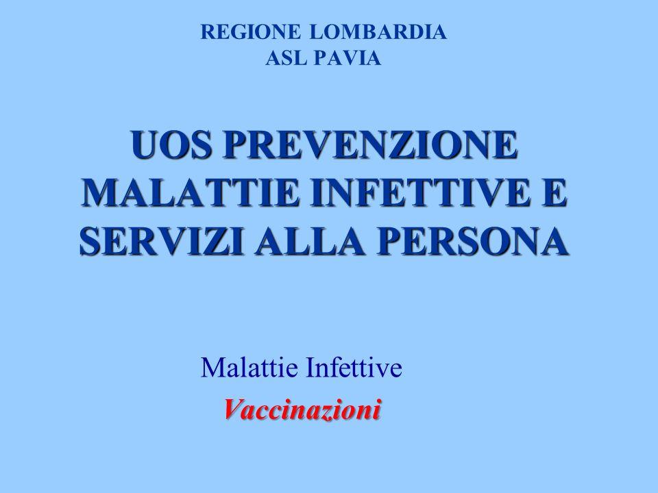 UOS PREVENZIONE MALATTIE INFETTIVE E SERVIZI ALLA PERSONA REGIONE LOMBARDIA ASL PAVIA UOS PREVENZIONE MALATTIE INFETTIVE E SERVIZI ALLA PERSONA Malattie InfettiveVaccinazioni