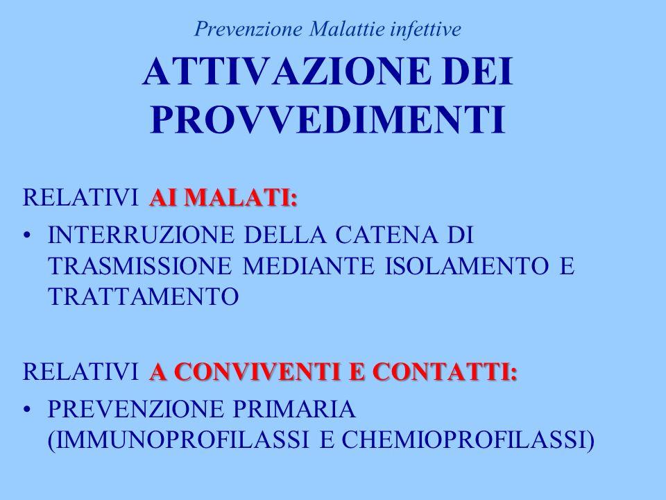 Prevenzione Malattie infettive ATTIVAZIONE DEI PROVVEDIMENTI AI MALATI: RELATIVI AI MALATI: INTERRUZIONE DELLA CATENA DI TRASMISSIONE MEDIANTE ISOLAMENTO E TRATTAMENTO A CONVIVENTI E CONTATTI: RELATIVI A CONVIVENTI E CONTATTI: PREVENZIONE PRIMARIA (IMMUNOPROFILASSI E CHEMIOPROFILASSI)