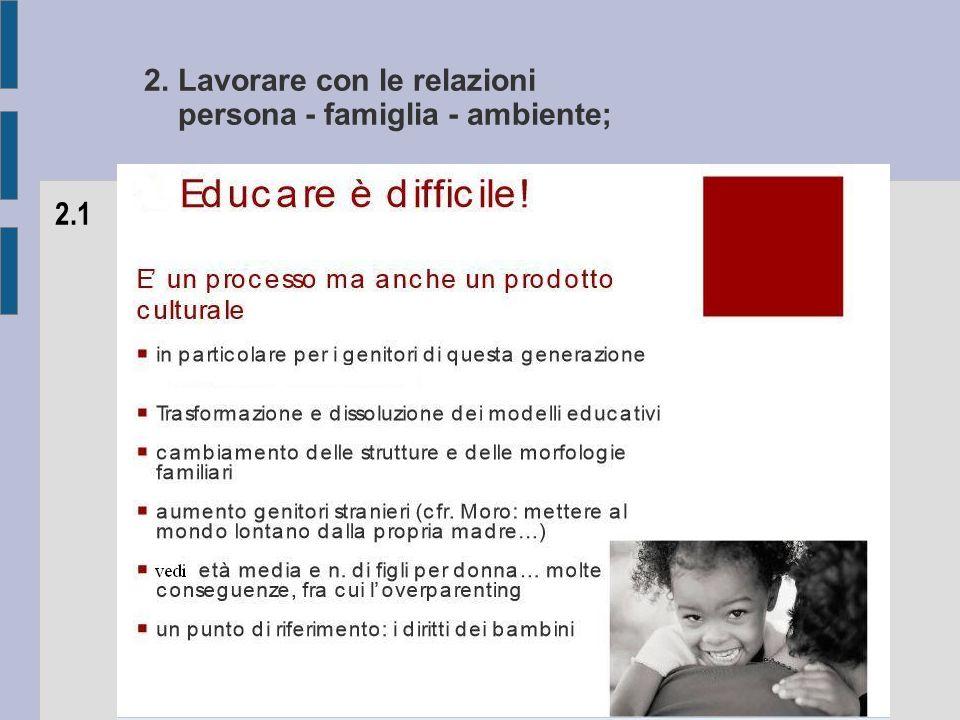2. Lavorare con le relazioni persona - famiglia - ambiente; 2.1