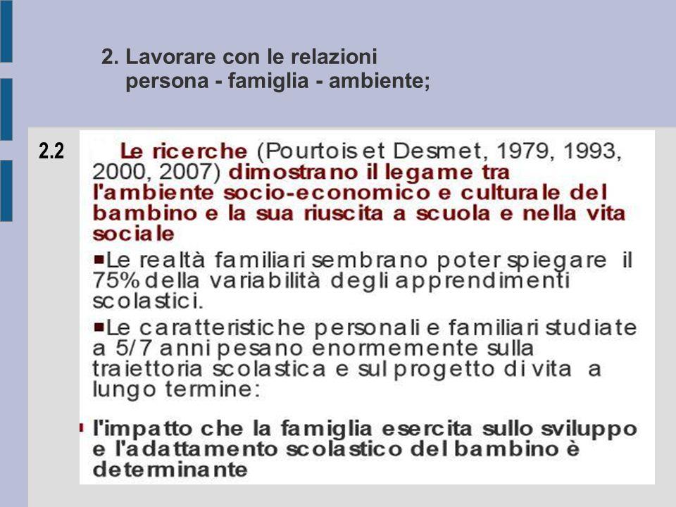 2. Lavorare con le relazioni persona - famiglia - ambiente; 2.2