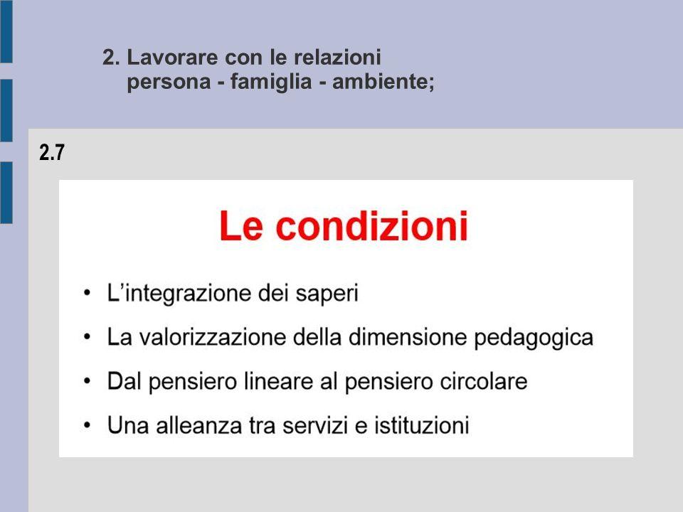 2. Lavorare con le relazioni persona - famiglia - ambiente; 2.7