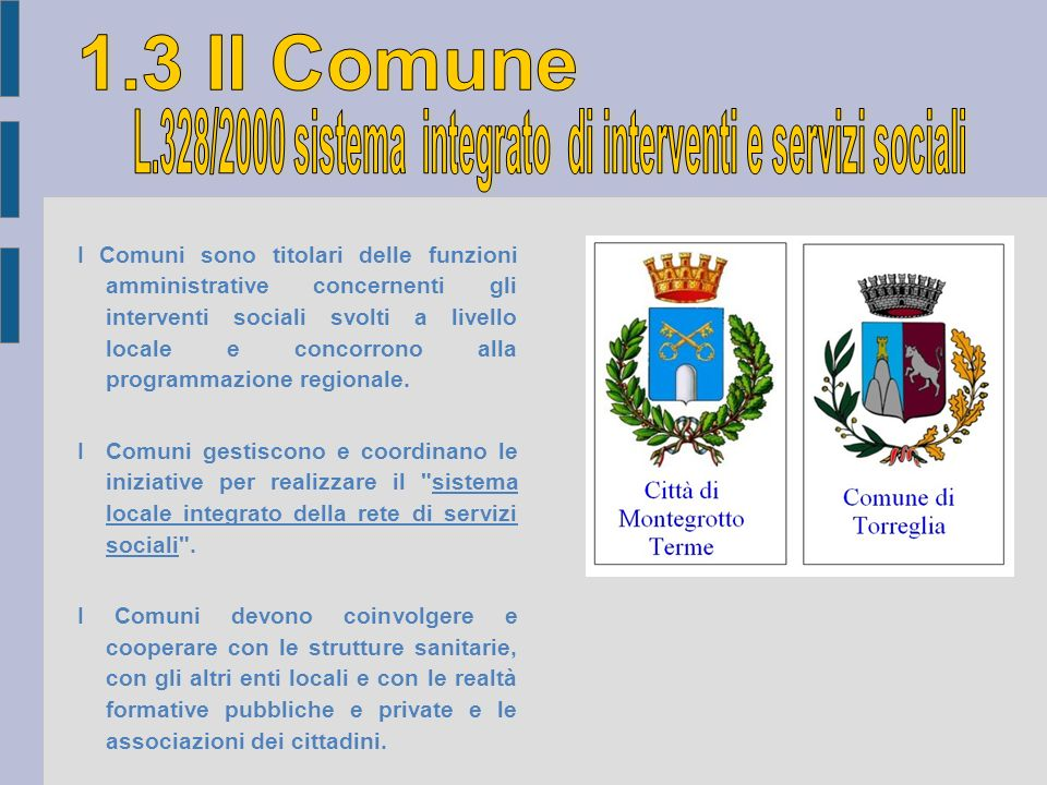 I Comuni sono titolari delle funzioni amministrative concernenti gli interventi sociali svolti a livello locale e concorrono alla programmazione regio