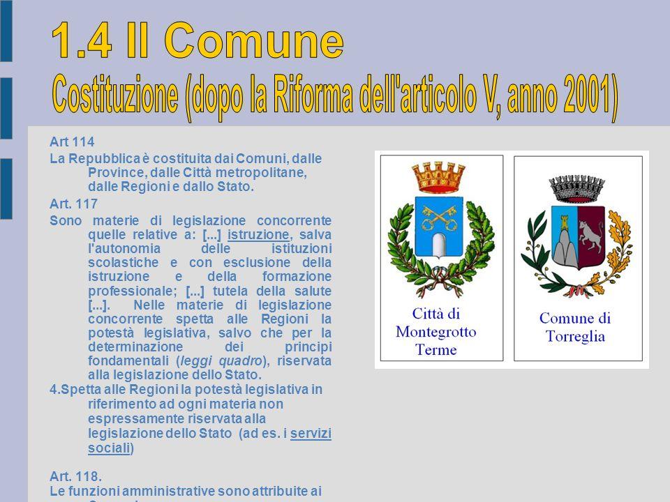 Art 114 La Repubblica è costituita dai Comuni, dalle Province, dalle Città metropolitane, dalle Regioni e dallo Stato. Art. 117 Sono materie di legisl