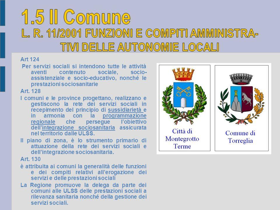 Art 124 Per servizi sociali si intendono tutte le attività aventi contenuto sociale, socio- assistenziale e socio-educativo, nonché le prestazioni soc