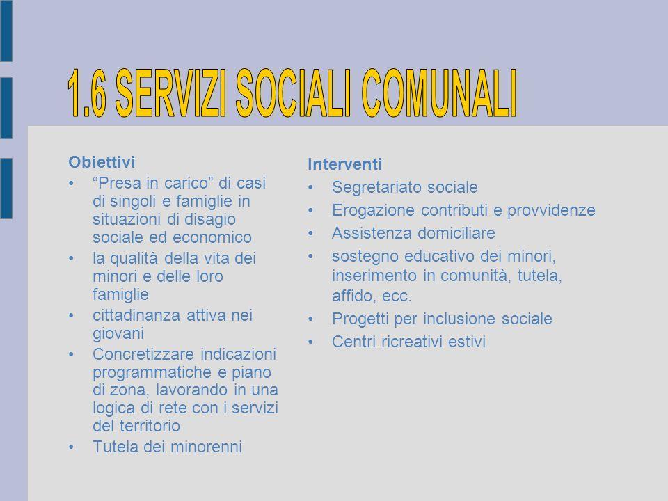 Obiettivi Presa in carico di casi di singoli e famiglie in situazioni di disagio sociale ed economico la qualità della vita dei minori e delle loro fa
