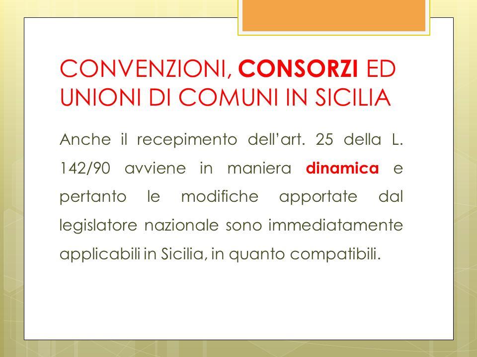 CONVENZIONI, CONSORZI ED UNIONI DI COMUNI IN SICILIA Anche il recepimento dellart.