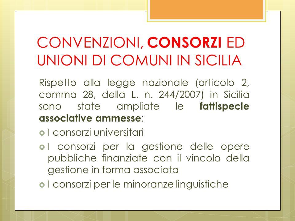 CONVENZIONI, CONSORZI ED UNIONI DI COMUNI IN SICILIA Rispetto alla legge nazionale (articolo 2, comma 28, della L.