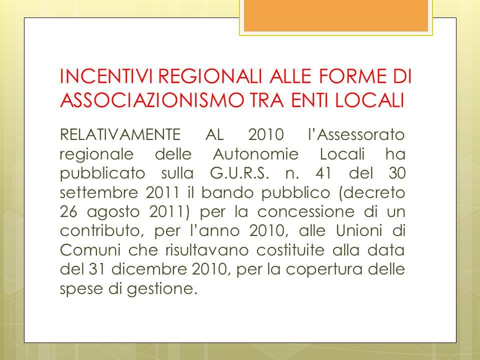 INCENTIVI REGIONALI ALLE FORME DI ASSOCIAZIONISMO TRA ENTI LOCALI RELATIVAMENTE AL 2010 lAssessorato regionale delle Autonomie Locali ha pubblicato sulla G.U.R.S.