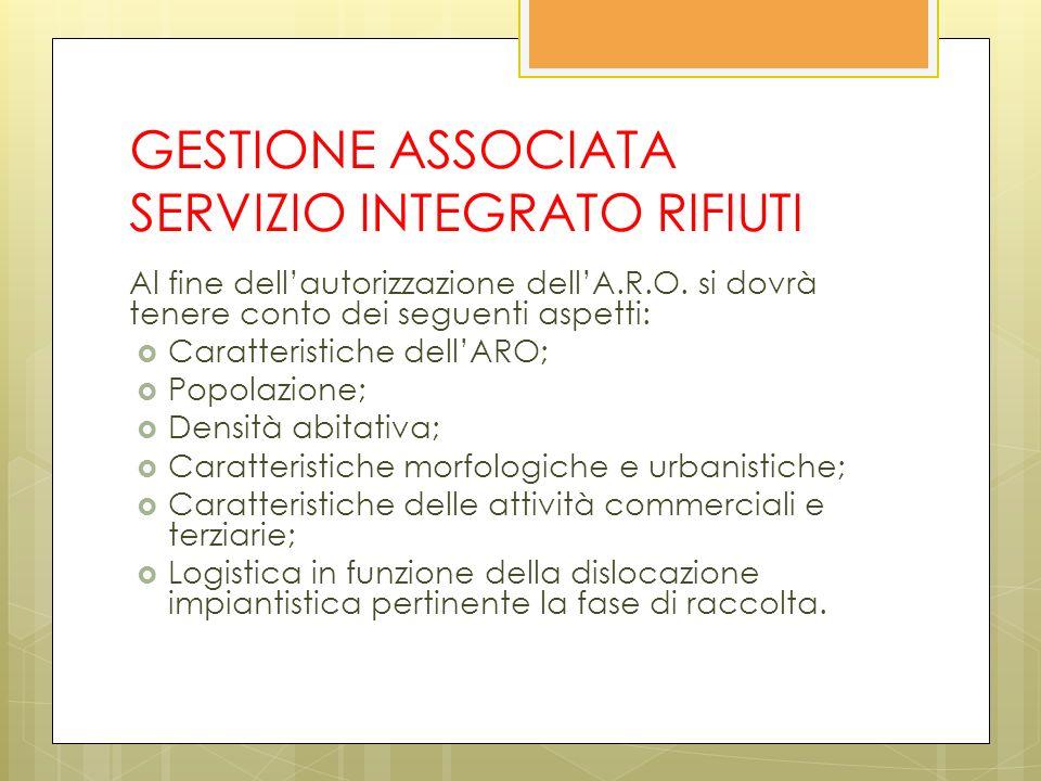 GESTIONE ASSOCIATA SERVIZIO INTEGRATO RIFIUTI Al fine dellautorizzazione dellA.R.O.