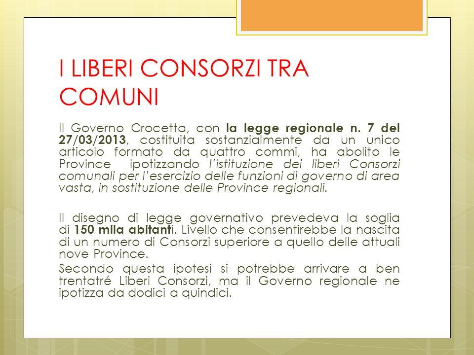 I LIBERI CONSORZI TRA COMUNI Il Governo Crocetta, con la legge regionale n.