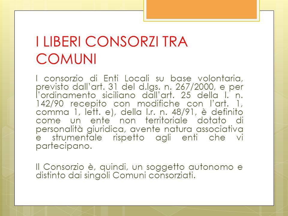 I LIBERI CONSORZI TRA COMUNI I consorzio di Enti Locali su base volontaria, previsto dallart.